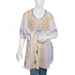 Yellow Cotton Geometric Screen Printed V-Neck Kaftan