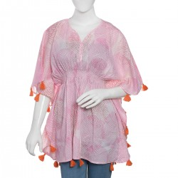 Pink Hand Screen Printed Kaftan with Orange Tassels