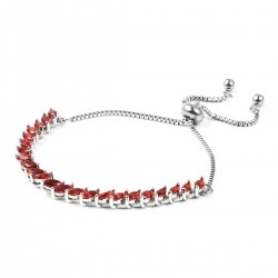Simulated Ruby Stainless Steel Bolo Bracelet