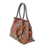CHAOS BY ELSIE Multi Color Woven Pattern Leather Tote Bag