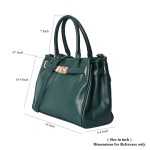 Green Faux Leather Buckle Satchel Bag