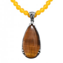 South African Tigers Eye, Yellow Quartzite Pendant Necklace