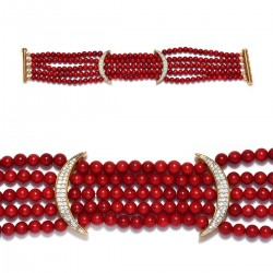 Coral Enhanced Red Coral and Natural White Zircon Bracelet