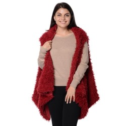 Wine Faux Fur Vest