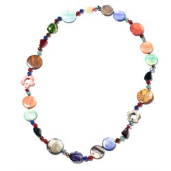 Multi Color Shell, Multi Beads Necklace 33 Inch