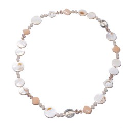 Natural Color Shell, Champagne and Clear Beads Necklace
