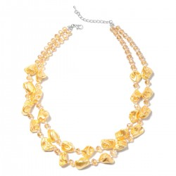 Yellow Shell Pearl and Beaded Necklace