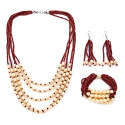 Red Sead Bead and Simulated Pearl Earrings and Stretch Bracelet and Multi Strand Necklace