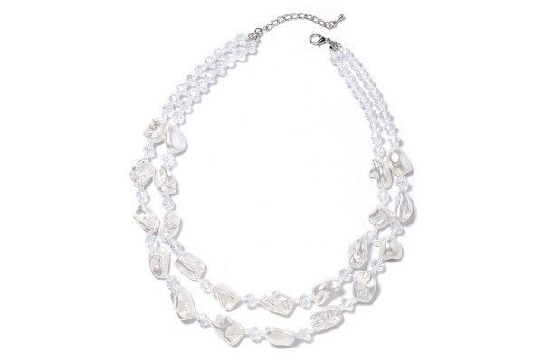 White Shell Pearl and Beaded Necklace