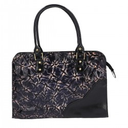 Black Leather Denim Wash Embossed Shoulder Bag