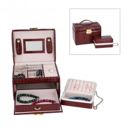 Burgundy 3-Tier Croco Embossed Faux Leather Jewelry Box