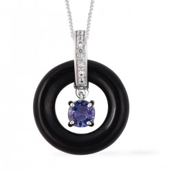 Tanzanite and Burmese Black Jade, Natural White Zircon Pendant Necklace