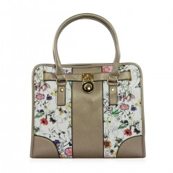 Bronze & White Floral Print Faux Leather Tote