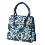Blue & White Foral Print Faux Leather Tote Bag
