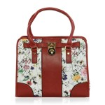 Red & White Foral Print Faux Leather Tote Bag