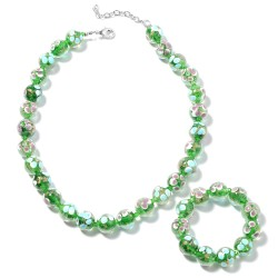 Green Murano Style and Green Floral Beads Stretch Bracelet and Necklace