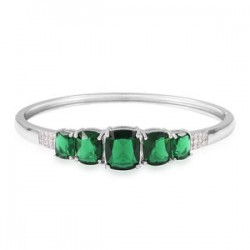 Simulated Emerald and Simulated Diamond Bangle Bracelet in Silvertone 7.25 inch