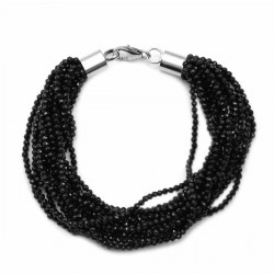Natural Thai Black Spinel Beaded Multi Strand Bracelet