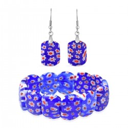 Royal Blue Murano Style Stretch Bracelet and Earrings in Stainless Steel