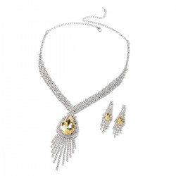Simulated Yellow Sapphire and Austrian Crystal Earrings and Necklace