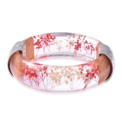 Chroma and Red and Beige Pressed Flower Bangle Bracele