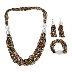 Multi Color Seed Bead Earrings, Bracelet and  Necklace
