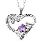 Amethyst and White Austrian Crystal Pendant Necklace