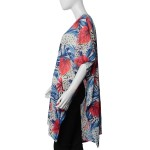 White, Blue, and Red Leaf Pattern Kimono