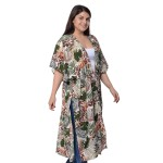 Green, Multi Color Tropical Pattern Beach Cover-Up