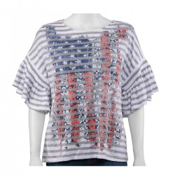 ALKAMY White, Multi Color American Flag & Stripe Pattern Blouse
