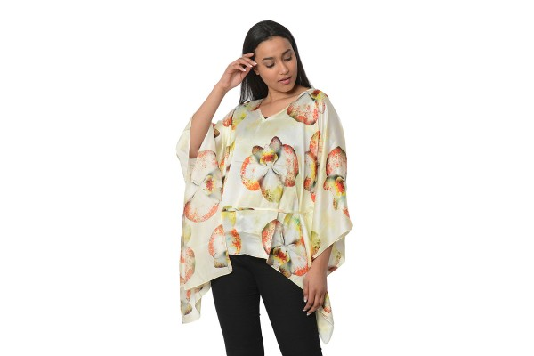 100% Mulberry Silk Warm Tone Orchid Digitally Printed Kaftan