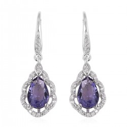 Simulated Purple and White Diamond Earrings in Sterling Silver