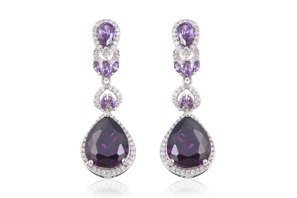 Simulated Amethyst and Simulated Diamond Earrings in Silvertone