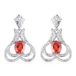 Simulated Sunfire and White Diamod Earrings in Silvertone