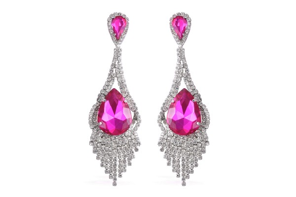 Simulated Fuchsia Quartz and White Austrian Crystal Earrings in Silvertone