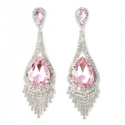 Simulated Pink Sapphire and White Austrian Crystal Earrings