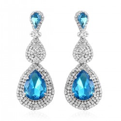 Simulated Blue Topaz and Austrian Crystal Earrings