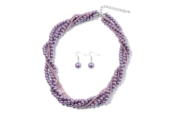 Simulated Purple Pearl and Purple Beads Earrings and Necklace