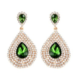 Simulated Green Sapphire and Austrian Crystal Earrings in Goldtone