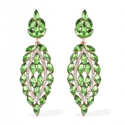 Simulated Green Sapphire and Austrian Crystal Dangle Earrings in Goldtone