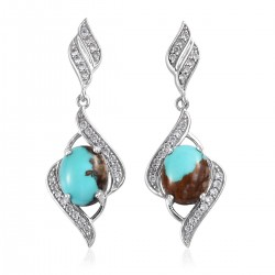 Royston Turquoise and Natural White Zircon Earrings