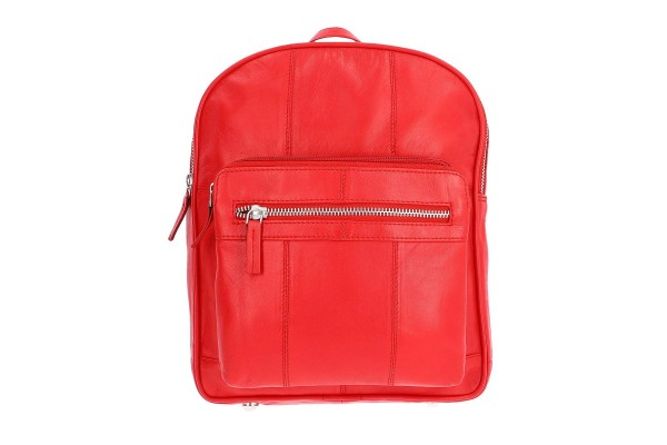 NEWAGE Red Leather Backpack