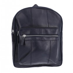 NEWAGE Midnight Blue Leather Backpack