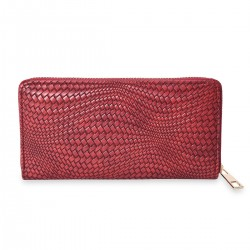 Red Woven Embossed Pattern Faux Leather Wallet