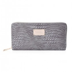 Gray Woven Embossed Pattern Faux Leather Wallet