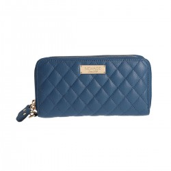 Royal Blue Leather Quilted RFID Ladies Wallet