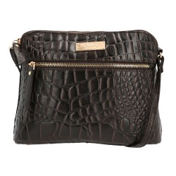 NEWAGE Brown 100% Genuine Leather Crocodile Embossed Cross-body