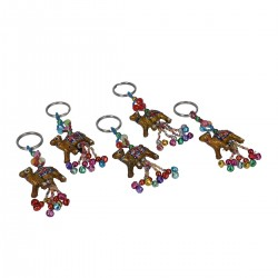 Set of 5 Handcrafted Multi Color Bead Camel Keychains