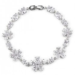 Simulated Diamond Floral Bracelet in Silvertone (7.25 In)