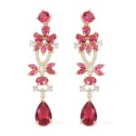 Simulated Red Quartz and Simulated Diamond Earrings